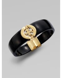 Tory Burch | Black Logo Hinge Bracelet | Lyst
