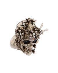 Alexander McQueen | Metallic Skull Flower Ring | Lyst