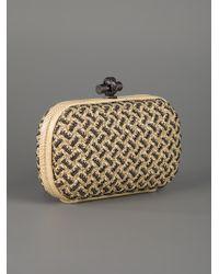 Bottega Veneta | Gold Snakeskin-trimmed Beaded Intrecciato Leather Knot Clutch | Lyst