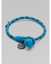 Bottega Veneta | Blue Intrecciato Mixed Leather Wrap Bracelet | Lyst
