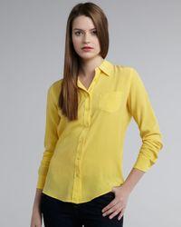 Equipment - Yellow Brett Single Pocket Blouse - Lyst