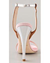 Jenni Kayne - Metallic Suede Ankle Strap Sandals - Lyst