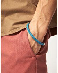 Simon Carter - Blue Leather Braided Bracelet for Men - Lyst