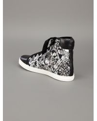 Lanvin | Black Diamond-print Canvas and Leather High-top Sneakers | Lyst
