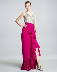 Naeem Khan | Metallic-bodice Combo Gown | Lyst