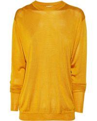 Acne | Metallic Etienne Fine-knit Silk Cutout Sweater | Lyst