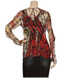 Alexander McQueen - Red Printed Silk Chiffon Blouse - Lyst