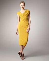 Donna Karan | Yellow Ruched Jersey Capsleeve Dress | Lyst
