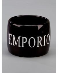 Emporio Armani - Black Wide Bangle - Lyst