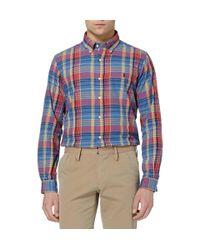 Polo Ralph Lauren   Blue Polo Ralph Lauren Custom Fit Multi Check Shirt for Men   Lyst