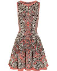 Alexander McQueen | Gray Flared Barnacle Intarsia Dress | Lyst
