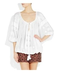 Étoile Isabel Marant | White Baker Embroidered Cotton Top | Lyst