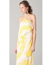 Halston - Yellow Asymmetrical Tiered Gown - Lyst