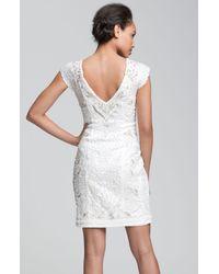 Sue Wong | White Embellished Vneck Sheath Dress | Lyst