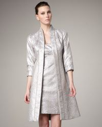 THEIA | Metallic Three Quarter Sleeve Brocade Coat | Lyst