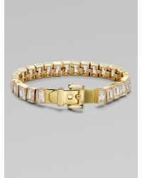 Michael Kors - Metallic Baguette Stone Tennis Bracelet Gold Tone - Lyst