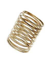 TOPSHOP - Metallic Spring Cuff Bracelet - Lyst