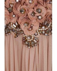 Marchesa - Pink Embellished Chiffon Kaftan Gown - Lyst