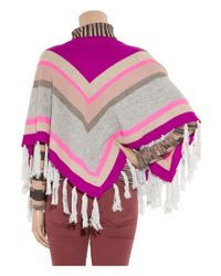 Rebecca Taylor - Multicolor Striped Cashmere-blend Tasseled Poncho - Lyst