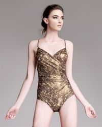 Lanvin | Metallic Sequin-print One-piece Swimsuit | Lyst