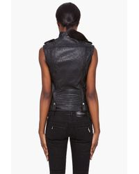 Balmain - Black Biker Leather Vest - Lyst