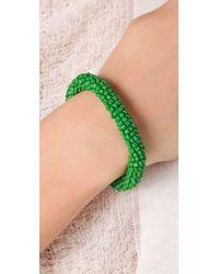 Tory Burch | Green Logo Beaded Bracelet | Lyst