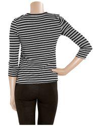 A.L.C. - Black Striped Cotton-jersey T-shirt - Lyst