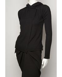 Rick Owens | Black Roll-neck Cotton Top | Lyst