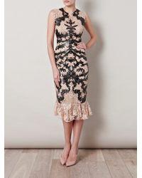Alexander McQueen | Beige Lasercut Leather and Lace Dress | Lyst