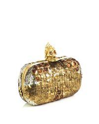 Alexander McQueen | Gold Sequin Skull Box Clutch | Lyst