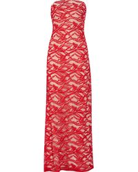Adam Lippes - Red Strapless Lace Gown - Lyst
