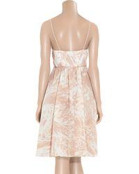 Tibi | Natural Marble-print Silk Wrap Dress | Lyst