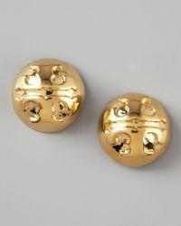 Tory Burch | Metallic Golden Logo Stud Earrings | Lyst