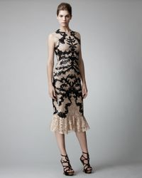 Alexander McQueen | Black Leather Lace Dress | Lyst