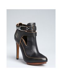 Badgley Mischka | Black Leather Dannie Stud Snap Buckle Ankle Booties | Lyst