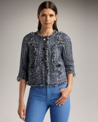 Tory Burch | Blue Daniela Fringe Tweed Jacket | Lyst