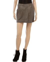 Day Birger et Mikkelsen - Gray Sauvage Studded Leather Mini Skirt - Lyst