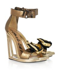 Lanvin | Frame-wedge Metallic-leather Sandals | Lyst