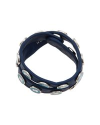 Marc By Marc Jacobs | Blue Dreamy Logo Double Wrap Leather Bracelet | Lyst