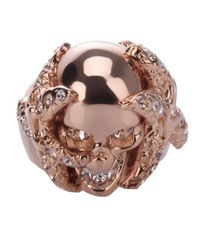 Alexander McQueen | Pink Skull and Coral Ring | Lyst