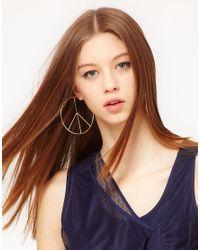 ASOS - Metallic Peace Sign Hoop Earrings - Lyst