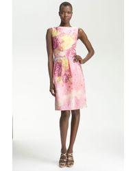 Lela Rose   Pink Floraljacquard Sheath Dress   Lyst