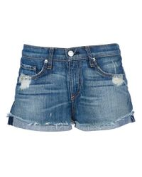 Rag & Bone | Blue Destroyed Emma Short | Lyst
