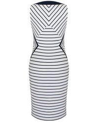 Alexon - Alexon Ottoman Chevron Dress White - Lyst