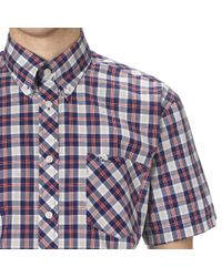 Ben Sherman | Blue Check Slim Fit Short Sleeve Button Down Shirt for Men | Lyst