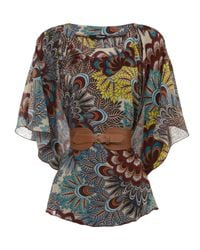 Jane Norman | Gray Peacock Paisley Belted Kimono | Lyst