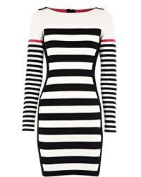 Karen Millen | Black Block Stripe Knit Dress | Lyst