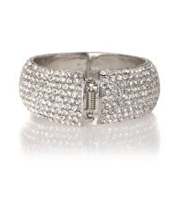 Mikey | White Wide Full Crystal Bracelet | Lyst
