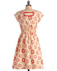 ModCloth | Beige Chance Of Sunshowers Dress | Lyst