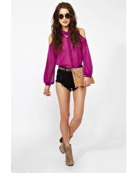 Nasty Gal | Purple Cutout Chiffon Blouse | Lyst